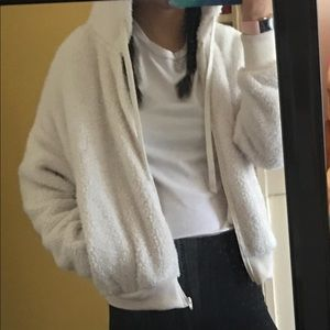 White cropped fluffy zip up